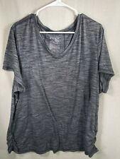 terra e sky women's blouse size 2X color black and white short sleeves v-neck Z1
