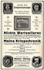 Hubert Bunke  Berlin MEINE KRIEGSCHRONIK MEMOR VERLAG Historische Reklame v.1917