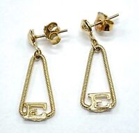 Beautiful Vintage Dainty Gold Tone Dangle Drop letter E Pierced Ear Earrings