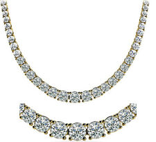 7 ct Round Diamond Graduated Tennis Necklace G SI1 14k Yellow Gold 4 prongs 16""