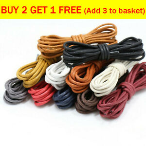 Premium Cotton Wax Shoelaces Thin Round Dress Waxed Laces For Dress Shoes Boots