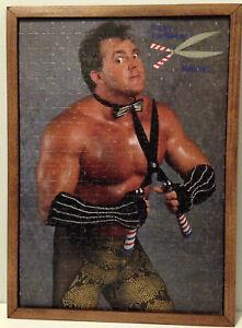 Vintage WWF Brutus The Barber Beefcake Puzzle Rustic Wooden Frame Mancave