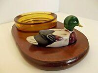Vintage Ashtray Trinket Tray Mallard Duck on Wood Amber Glass Price Products