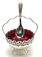Vintage Silver Plated & Red Glass Sugar Bowl with Spoon <HM02 (T32)