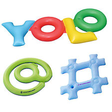 Swimline Inflatable YOLO! + Hashtag + @ Sign Swimming Pool Fun Raft Floats Pack