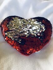 Sequin Heart Plush Silver Red Valentines Day Gift Pillow