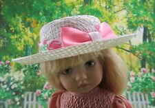 "Straw Doll Hat Bolero Ivory Decorate Your Own Fits 10"" Boneka 7"" Head"