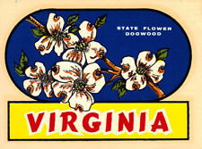 VINTAGE TRAVEL DECAL VIRGINIA DOGWOOD STATE FLOWER AUTO RV LUGGAGE OLD VW BUS 67