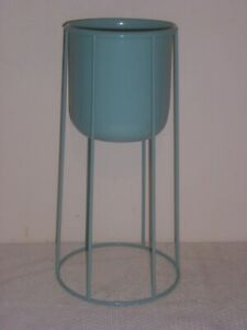 vintage enamel plant stand peppermint green 99p no reserve