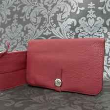 Rise-on HERMES Des Gonds Dogon Red Togo Leather Bifold Wallet Long Purse #9