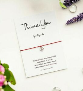 Thank You Wish Bracelet, Thank You Gift Card with Tibetan Silver Heart Charm