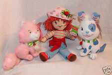 "NWT LOT OF 3  STRAWBERRY SHORTCAKE CUSTARD CAT & PUPCAKE DOG PLUSH 6.5""  & 7"""