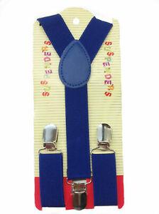 NEW Boys Girls Baby  Kids Child Children Clip on Y Back Elastic Blue Suspenders