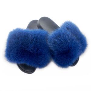 Blau Fell Latschen Pelz Pantoffeln mit blau Fuchs Schlappen Sandalen mit Pelz