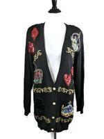 Vintage Marisa Christina Collection Medium Beaded Sequin Black Cardigan Sweater