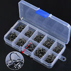 IT- 500 Pcs 10 Sizes Assorted Sharpened Carbon Steel Fishing Hooks Tackle Box Pr