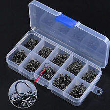 500 Pcs 10 Sizes Assorted Sharpened Carbon Steel Fishing Hooks Tackle Box Proper