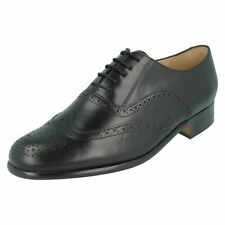 Mens Grenson Black Leather Lace Up Brogue Shoes : Euston