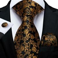 Black Gold Floral Silk Tie Set Mens Necktie Pocket Square Cufflinks Wedding