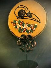 Bird Skull with Floral Motif 100% Hand Embroidery On Copper Flower Picture Frame