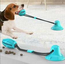 Pet Puppy Molar Bite Toy Tug Rope Ball Chew Dog Tooth Cleaning Suction Cup Blue