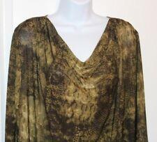 ISABELLA RODRIGUEZ Womens Tunic Size 2X Animal Print Draped Neck Dressy 3/4 MINT