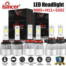 9005 H11 5202 LED Headlight Combo + Fog Bulbs for Chevy Suburban Tahoe 2007-2014