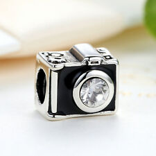 European Style 925 Silver Plated Fashion Camera Charm Bead fit Bracelet Chain