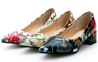SZ US12 Chic Floral Pumps Womens Pointy toe Party Heels Block Heel Slip on Shoes
