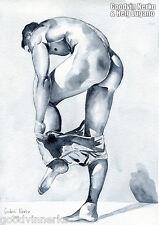 "PRINT of Original Art Work Watercolor Painting Gay Male Nude ""Blue"""
