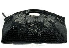 GIORGIO ARMANI Alligator EMBOSSED Black Patent LEATHER Clutch Hand Bag Cosmetic