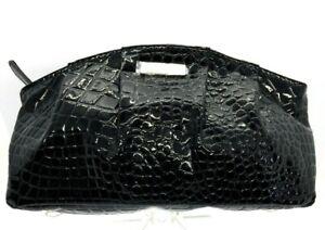 GIORGIO ARMANI Alligator EMBOSSED Black Patent LEATHER Clutch Hand Bag Cosmetic