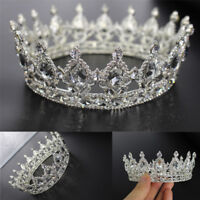 Luxury Full Crystal Drip Adult Wedding Bridal Party Pageant Prom Round Crown DD