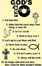 Christian church Biblical Vinyl wall art TEN COMMANDMENTS, God's top 10 rules