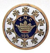 1890's ROYAL ARCANUM FRATERNAL V.M.C. 1105 enamel inlaid collar lapel stud ^
