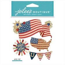American Flag Stars & Stripes 4th July USA Liberty Free Brave Jolee's 3D Sticker