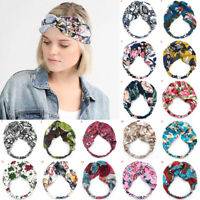 Women's Twisted Knotted Floral Headband Bohemia Floral Wide Stretch Hair Band