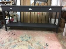 BESPOKE H85 x W180 x D40cm CONSOLE HALL TABLE 3 DRAWER F&B PITCH BLACK SATIN