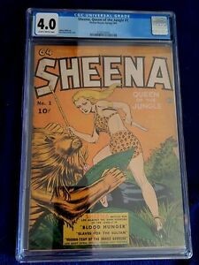 SHEENA, QUEEN OF THE JUNGLE #1, CGC VG 4.0 Fiction House (1942)
