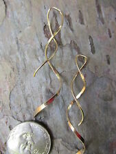 14 KT Yellow Gold Filled Threader Ear Wires Curl Twist Earrings NEW