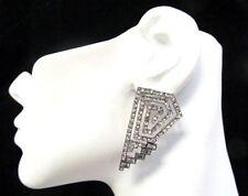 Big Rhinestone Silver Geometric Rhinestone Stud Earrings  Love and Hip Hop