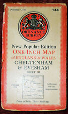 "ORDNANCE SURVEY NEW POPULAR EDITION 1"" LINEN BACKED MAP OF CHELTENHAM & EVESHAM"