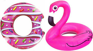 Giant Inflatable Flamingo Ring Donut Rubber Swimming Pool Beach 36 inch 92 CMS
