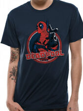Deadpool Logo Point Official Marvel Comics X-Men Blue Navy Mens T-shirt
