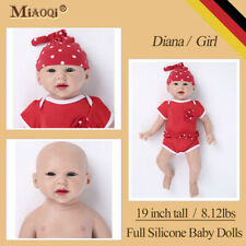 "Solid Silicone Reborn Baby Girl Dolls Lifelike Realistic Newborn Gifts Toy 19"""