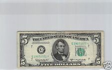 USA United States Federal Reserve Note $5 Dollars 1950 D N° G19073321 Star