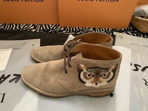Auth Gucci Men's Shoes Beige W/Owl & UFO Made In Italy Well Care For (10G)