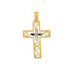 Fancy Bead Trim Cross Pendant 14K Yellow Gold Shiny Diamond Cut