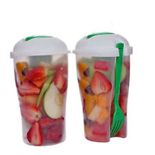 Fresh Food Fork Shaker Dressing On The Go Serving Cup Container Fruit Salad
