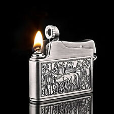 JOBON Vintage Kerosene Oil Lighter Full Metal Antique Silver Bronze Men's Gift